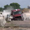 Ram pickup truck crashes into concrete barrier