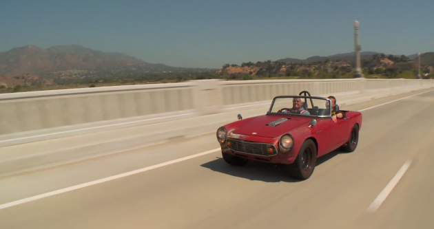 Jay Leno drives a 1964 Honda S600 hot rod on Jay Leno's Garage