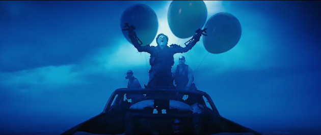 Still from the Mad Max: Fury Road and Mario Kart mash up