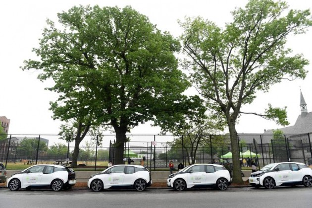 BMW donates 20 BMW i3 electric vehicles to NYC Parks in support of the TreesCount! census during a press conference at Julio Carballo Fields on Tuesday, May 19, 2015 in the Bronx Borough of New York. (Photo by Scott Gries/Invision for BMW of North America/AP Images)