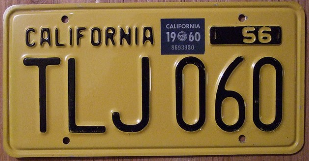 Black-on-Yellow Vintage California License Plate