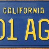Yellow-on-Blue California Vintage License Plate