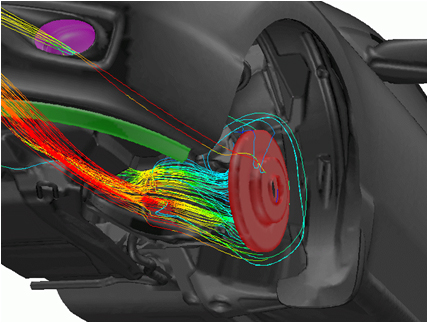 A computer aided engineering simulation of cooling airflow to a brake system