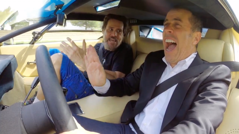 Jim Carrey and Jerry Seinfeld in a 1976 Lamborghini Countach