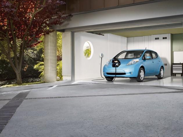 Nissan Leaf in garage