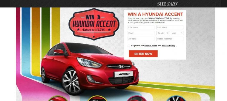 Win A Car Sweepstakes >> Win A New Car In Shesaid S Hyundai Accent Sweepstakes The