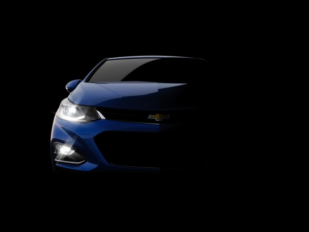 A teaser image of the upcoming next-generation 2016 Chevy Cruze