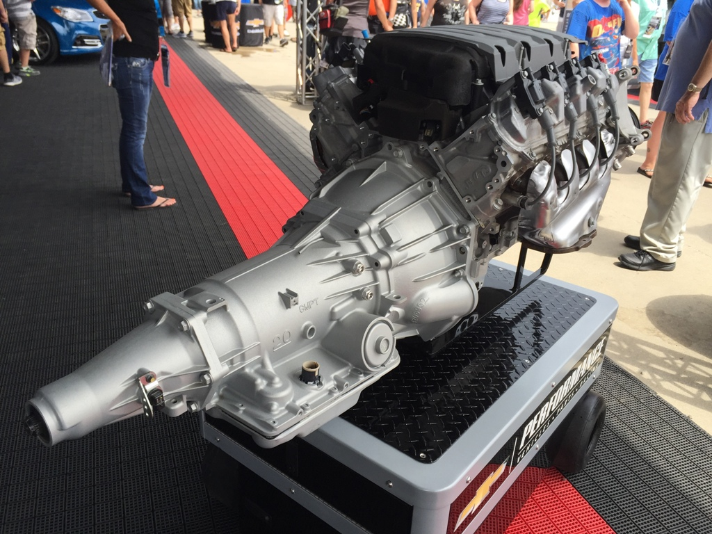 2016 Chevy Camaro V8 engine on display at the Brickyard 400 in Indianapolis Motor Speedway