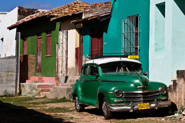 Green Plymouth in Cuba