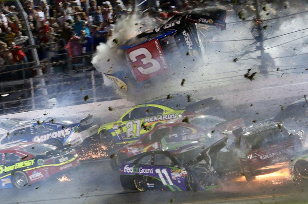 Austin Dillon walked away from this rash, but 13 fans received medical attention as a result.