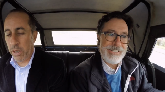 Jerry Seinfeld and Stephen Colbert in a 1964 Morgan Plus 4