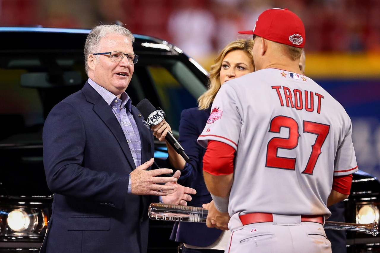 Mike Trout accepts Chevy Silverado pickup truck MVP award
