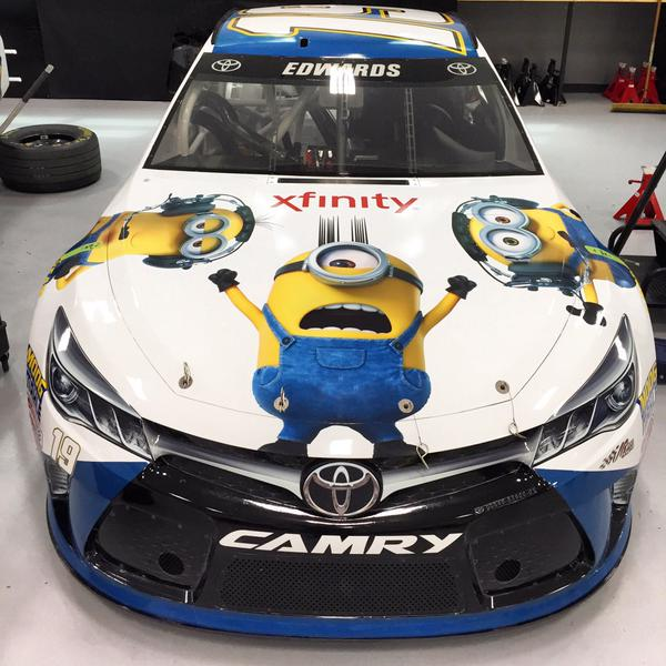 Minions Catch A Ride with Carl Edwards at Quaker State 400 ...
