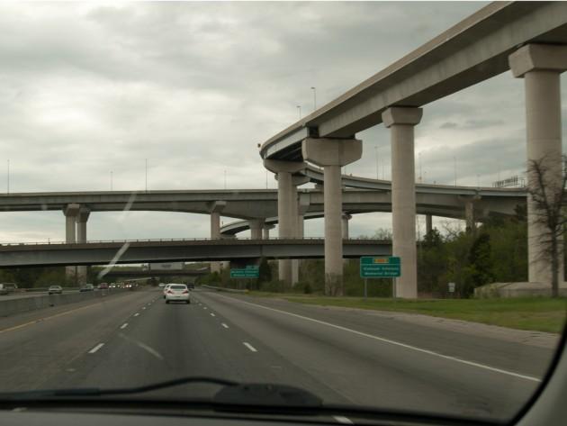 Highway overpass bridge