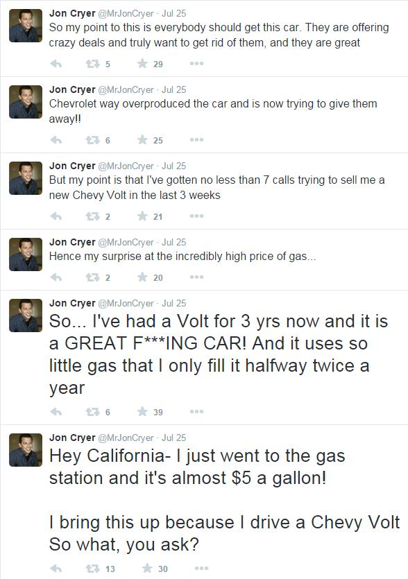 Jon Cryer twitter Chevy Volt