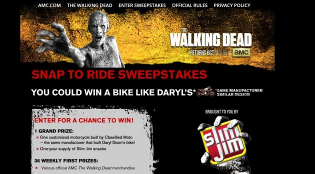 Snap to Ride Sweepstakes Win Customized The Walking Dead Motorcycle Slim Jims