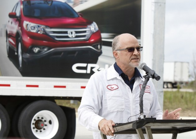 Honda executive Tom Shoupe speaks at the opening of a CNG filling station in Marysville, Ohio