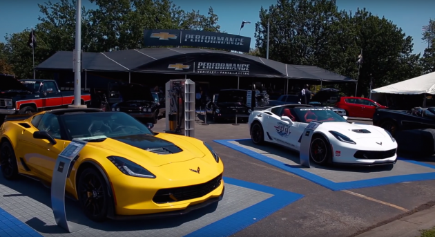 Two 2015 Chevy Corvettes on display at the 2015 Woodward Dream Cruise