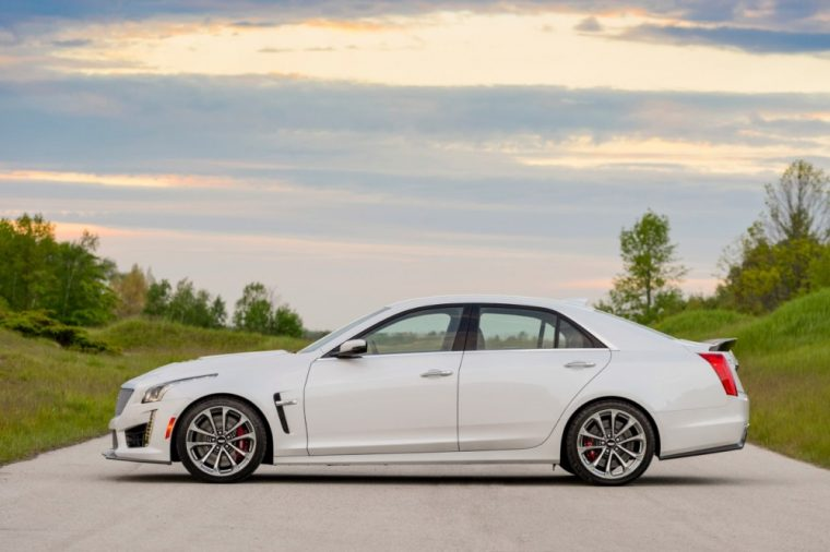 The white exterior color option of the 2016 Cadillac CTS-V