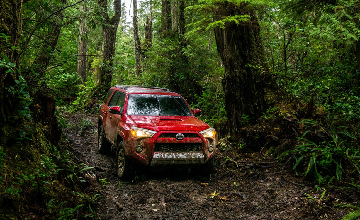 2016 Toyota 4Runner in the mud in the woods