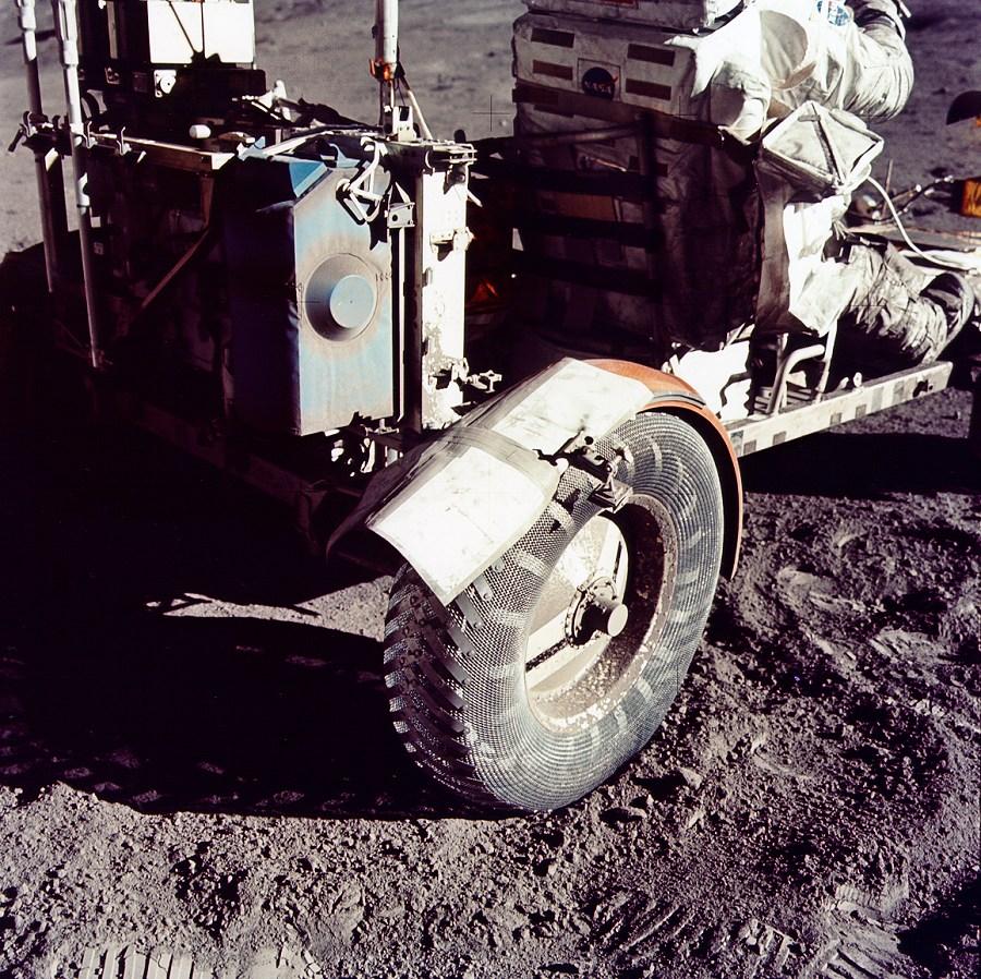 Apollo 17 moonbuggy repaired fender