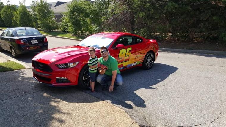 Brett Winek Holden and Lightning McQueen Mustang