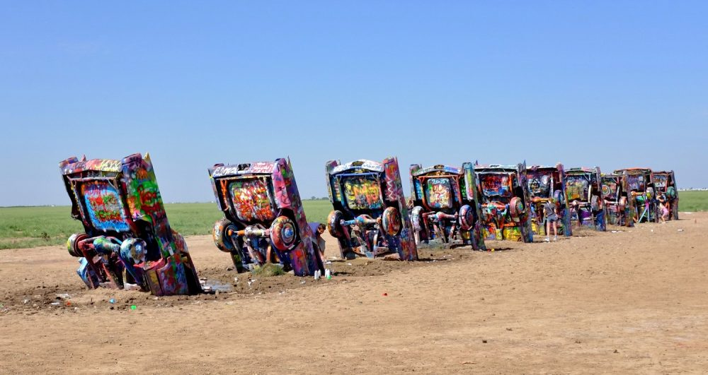 A view of the art installation at Cadillac Ranch in Amarillo, Texas