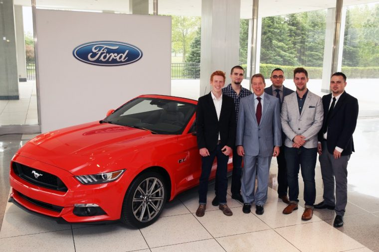 Ford Executive Chairman Bill Ford and the first five winners of the William Clay Ford Automotive Design Scholarship