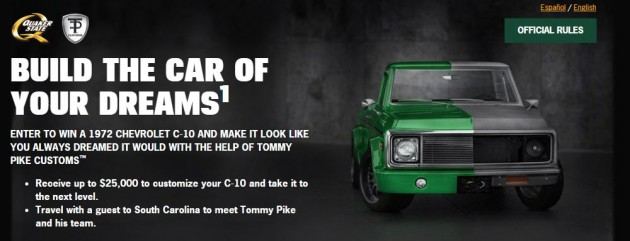 Quaker State 1972 Chevy C10 pickup truck giveaway contest entry