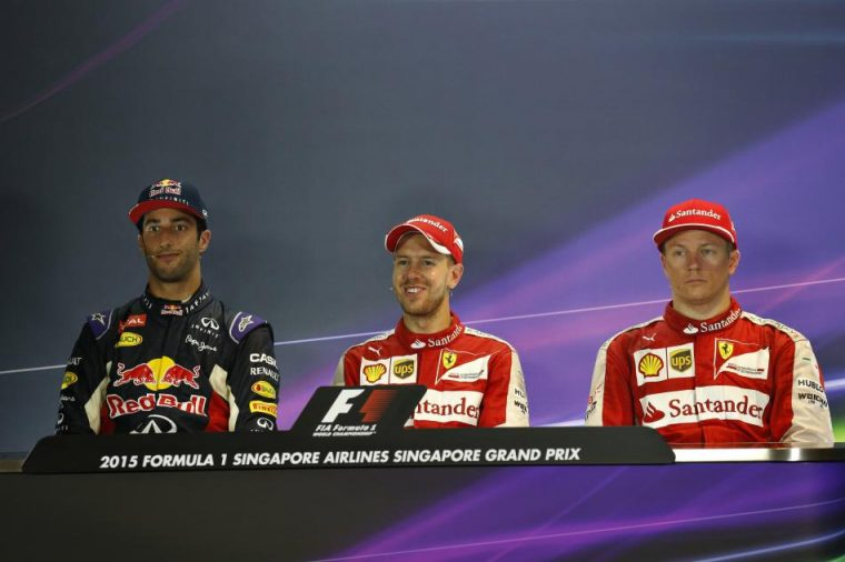 Second place Ricciardo, first place Vettel, and third place Räikkönen
