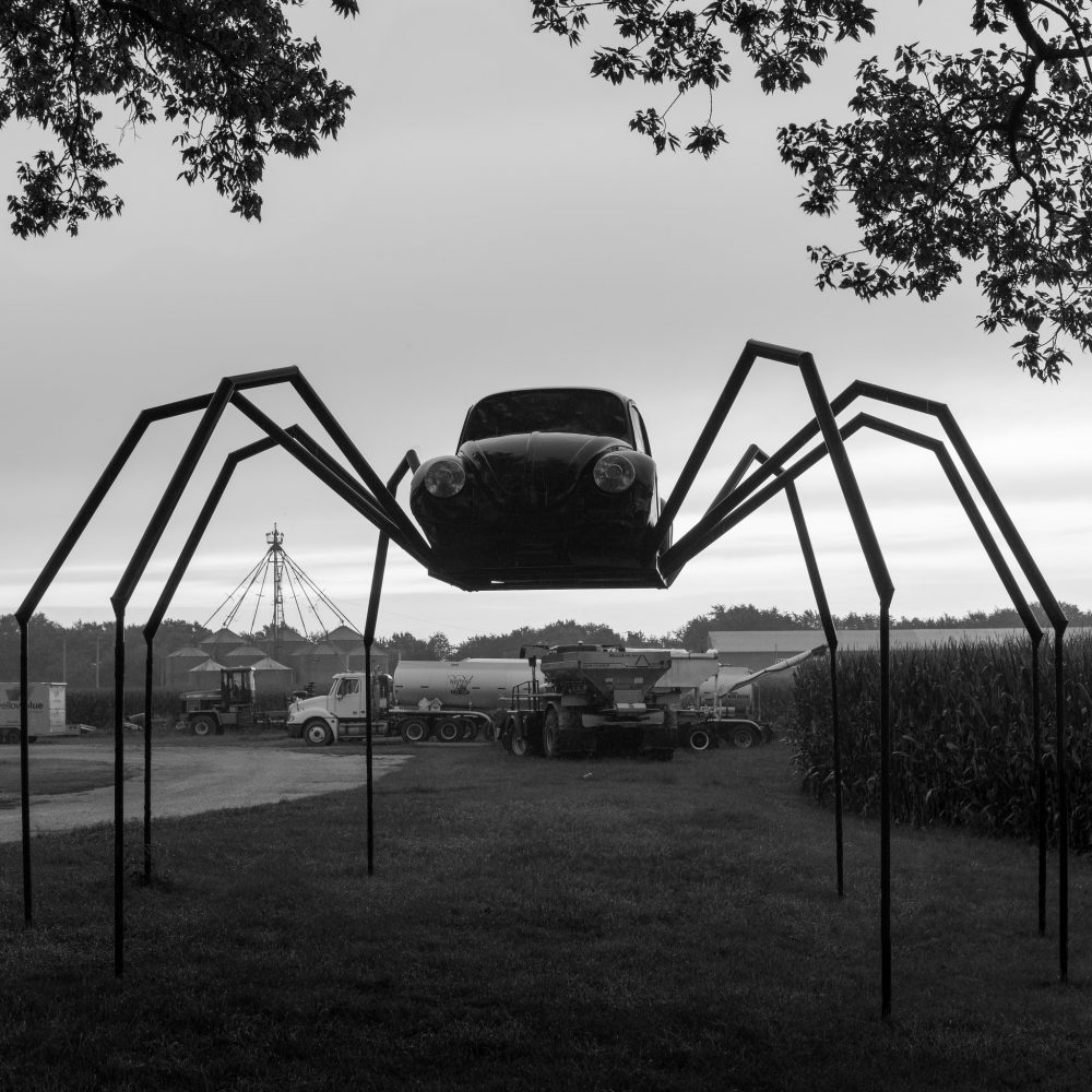 A VW Beetle reimagined as a spider in Avoca, Iowa