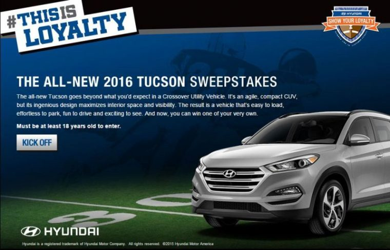 Win A Car Sweepstakes >> Win A 2016 Hyundai Tucson Suv Via Automaker S Thisisloyalty