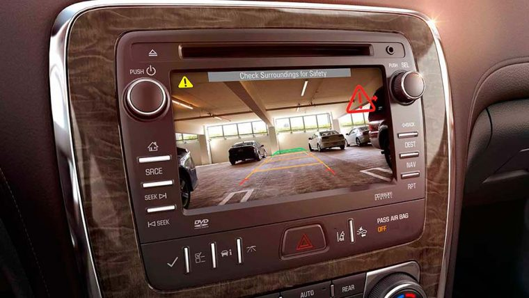 A rear vision camera comes standard with the 2016 Buick Enclave
