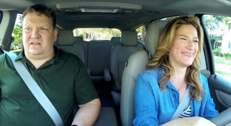 Andy Richter and Ana Gasteyer in a 2016 Chevy Traverse on Going There