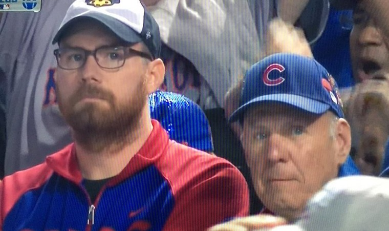 Sad Chicago Cubs fans at Wrigley Field as New York Mets sweep Cubs in NLCS