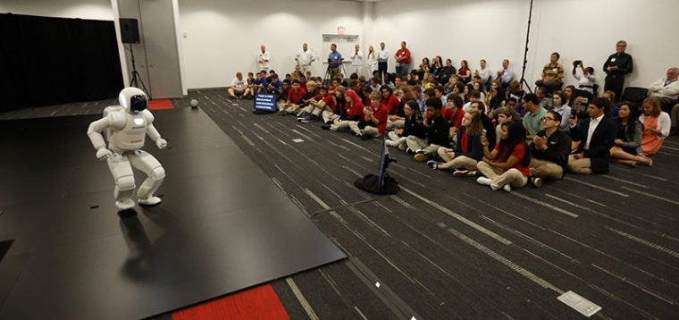 Central Ohio students watch the Honda Robotics demo in Marysville