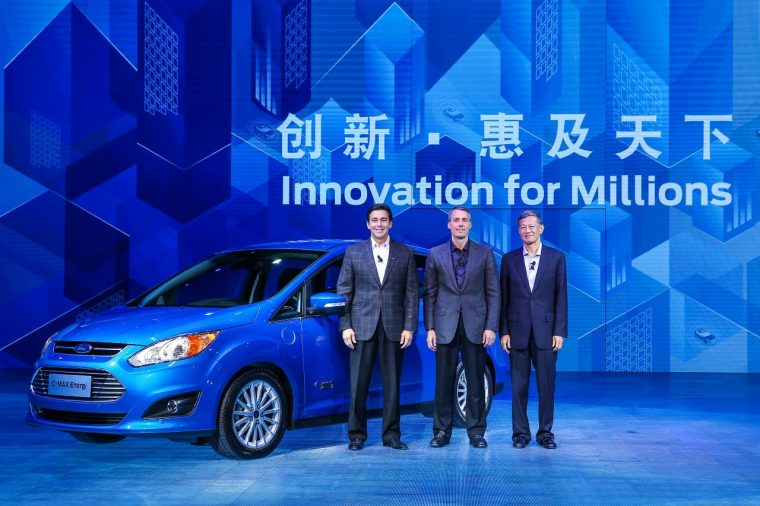 Mark Fields, John Lawler and Joseph Liu at 2015 Ford -Innovation for Millions on Monday