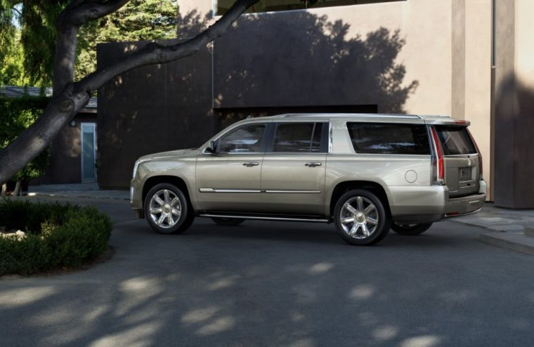 The 2016 Cadillac Escalade comes standard with Roof-mounted chrome luggage rack