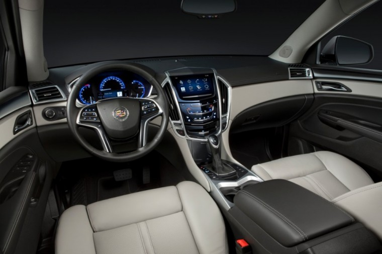 The 2016 Cadillac SRX features a leather-wrapped steering wheel