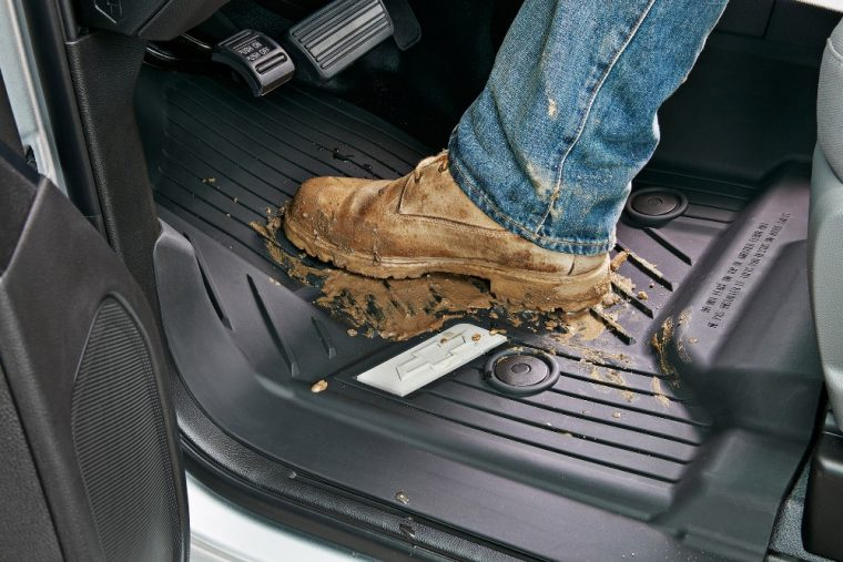 Graphite-colored rubberized-vinyl floor covering come standard with the 2016 Chevy Silverado