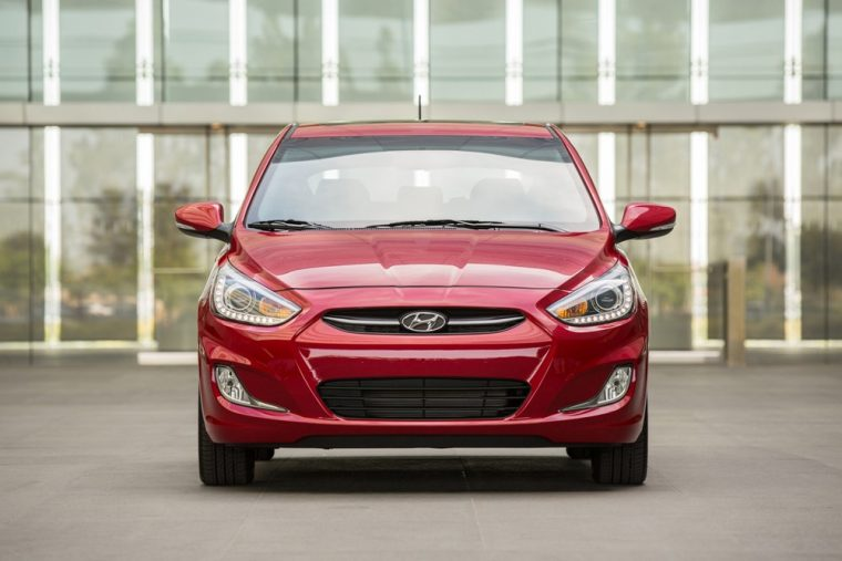 The 2016 Hyundai Accent features a chrome accent front grille