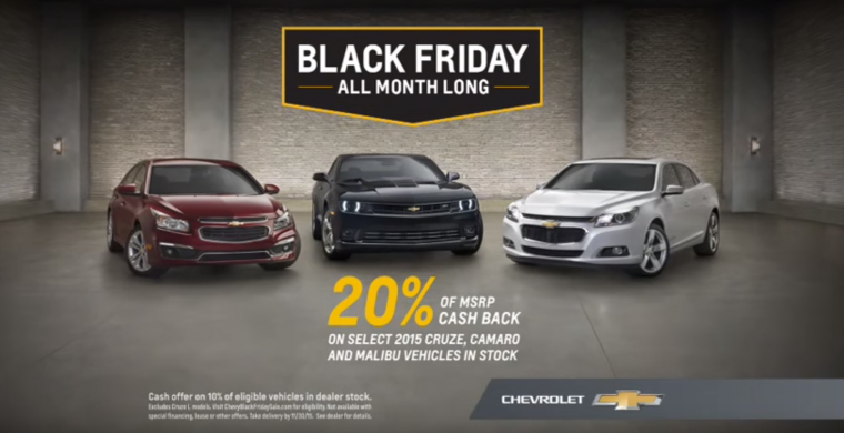 Chevy Black Friday sale commercial