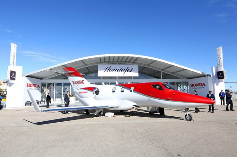 A production HondaJet on display at the Henderson Executive Airport in Las Vegas