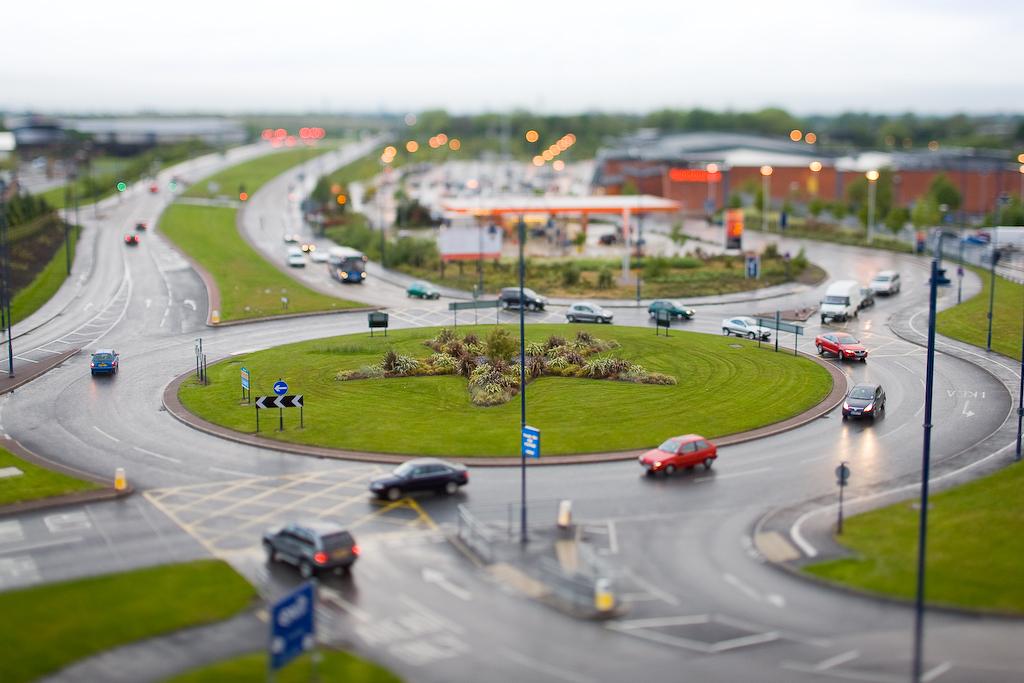 Roundabout circular traffic intersection driving island America