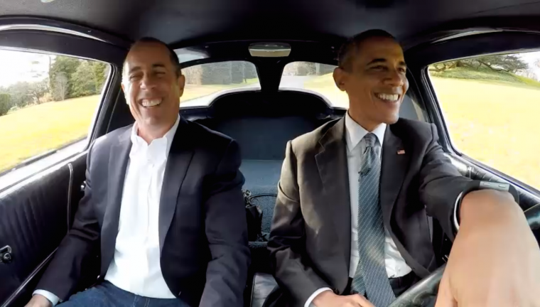 "Barack Obama and Jerry Seinfeld in a 1963 Chevy Corvette Stingray on ""Comedians in Cars Getting Coffee"""