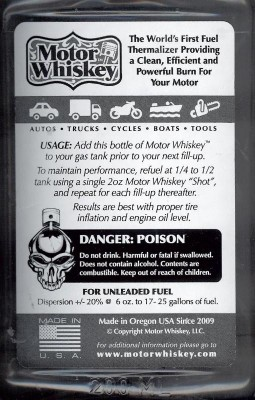 Motor Whiskey Fuel Thermalizer Additive review label