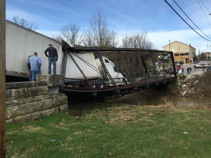 Semi Bridge collapse