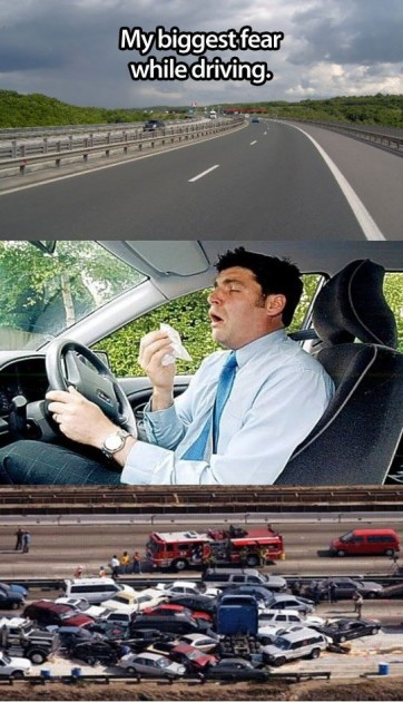 sneezing while driving
