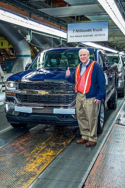 Lee Adams with 7 millionth Fort Wayne Truck Chevy Silverado