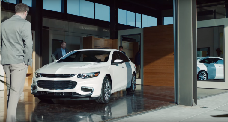 "The badgeless 2016 Chevy Malibu featured in ""The Car You Never Expect"" ad"